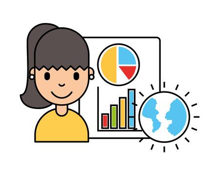 woman world document report business investment vector illustration 일러스트