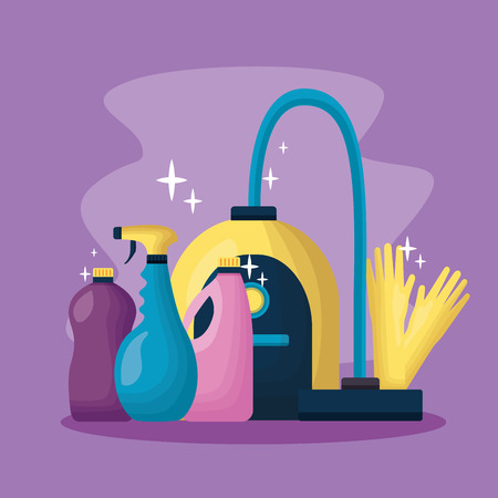 vacuum gloves products spring cleaning tools vector illustration Illustration