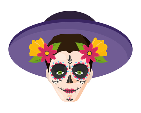 catrina with hat mexican culture vector illustration Standard-Bild - 122709691