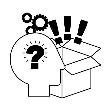 head brain storage exclamation marks gears creativity idea vector illustration