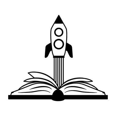 open book launching spaceship - world book day vector illustration Foto de archivo - 121898434