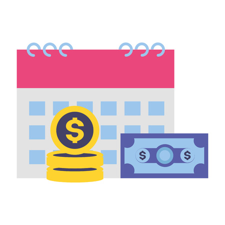 calendar money banknote coins tax payment vector illustration 向量圖像