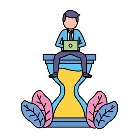 zakenman met laptop zittend op zandloper vectorillustratie Vector Illustratie