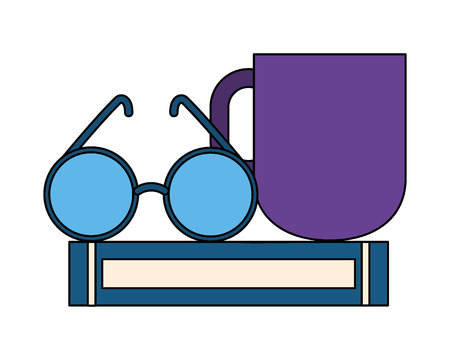 book eyeglasses and coffee cup vector illustration 일러스트
