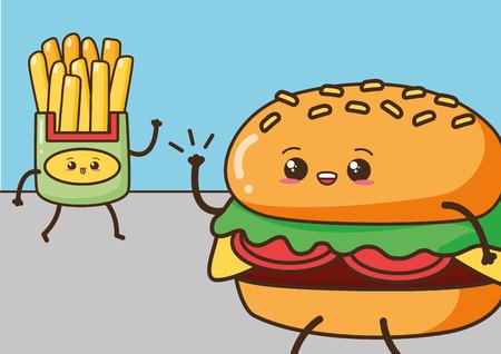 kawaii burger french fries fast food cartoon vector illustration Illustration