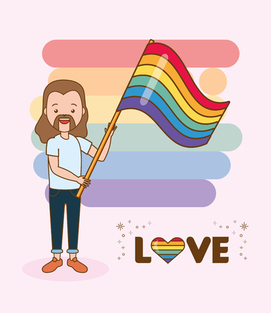 happy guy with flag lgbt pride vector illustration Banco de Imagens - 121898437