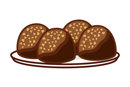 candies chocolate sweet on dish vector illustration Illustration