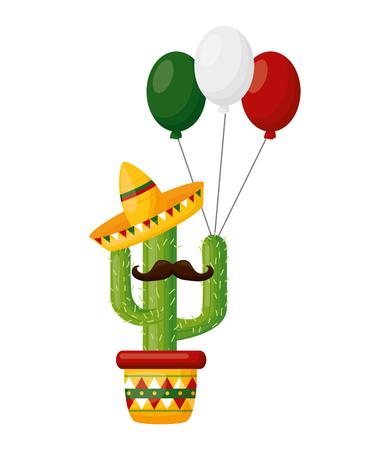 cactus with mustache hat balloons cinco de mayo vector illustration