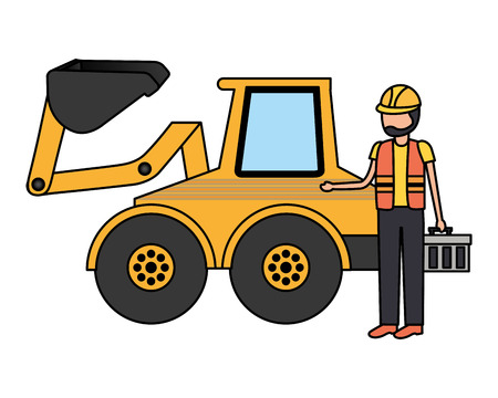 worker construction toolbox and bulldozer vector illustration