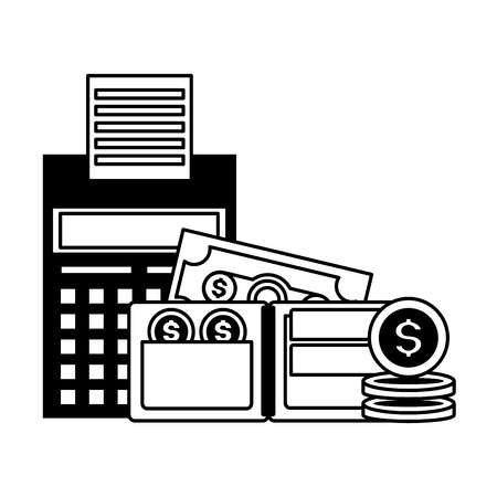 calculator wallet money currency tax payment vector illustration 일러스트