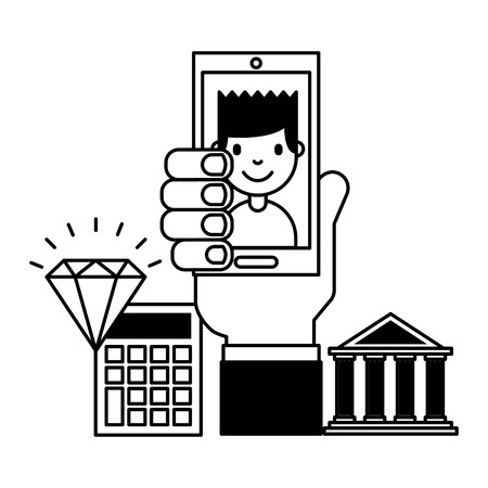 hand with mobile people bank calculator treasure business investment vector illustration Illustration
