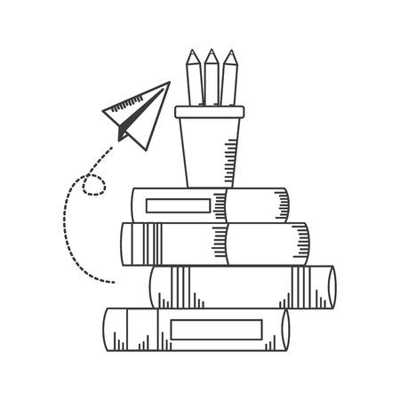 apple book paper plane school supplies vector illustration design Foto de archivo - 121898456