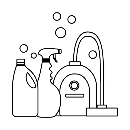 vacuum cleaner spray detergent tool cleaning vector illustration