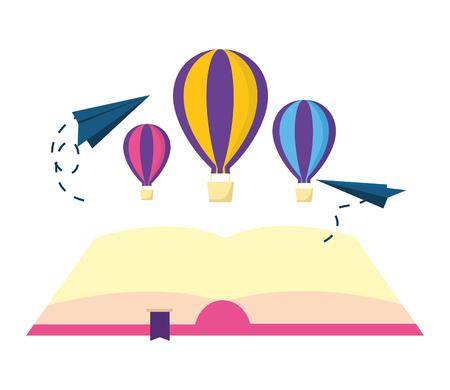 open book hot air balloon paper plane vector illustration Illustration