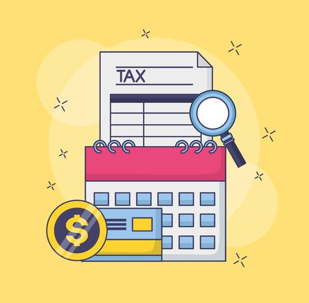 tax payment document calendar bank card magnifier vector illustration Ilustrace