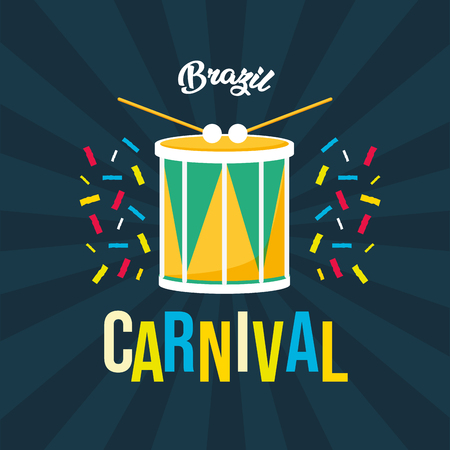 drum confetti brazil carnival festival black background vector illustration Stock Illustratie