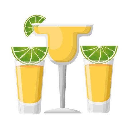 tequila shot cocktail lemon beverage vector illustration