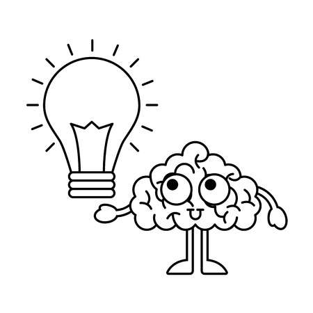 cartoon brain bulb creativity idea vector illustration