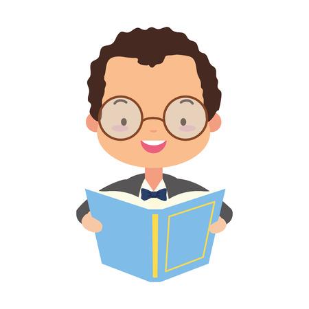 man reading textbook world book day vector illustration design Ilustração