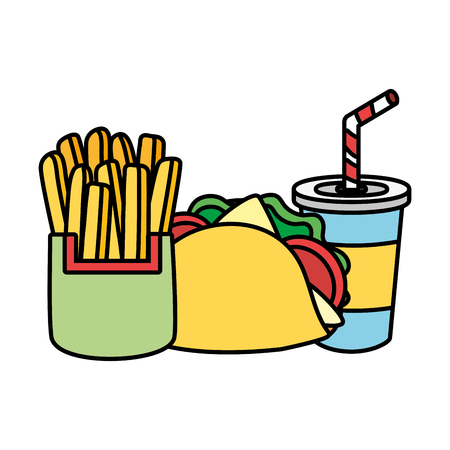 taco french fries and soda food vector illustration