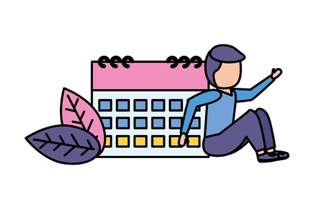 man calendar reminder planning date vector illustration Çizim