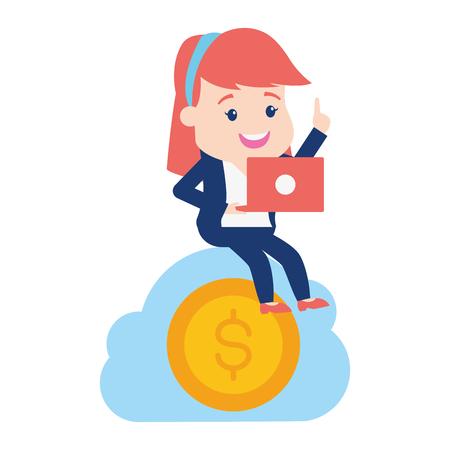 woman cloud computing money online banking vector illustration Stock Vector - 122710028
