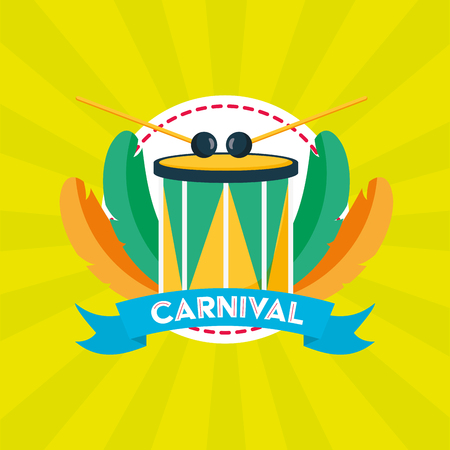 drum feathers brazil carnival festival vector illustration