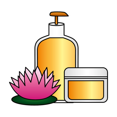 skin care bottle cream flower spa treatment therapy vector illustration Foto de archivo - 122711939