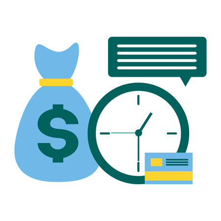 clock money bag bank card tax time payment vector illustration Illusztráció