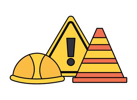 helmet traffic cone and alert sign construction equipment vector illustration Illusztráció