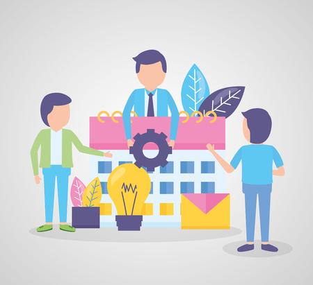 business people calendar gear work time vector illustration