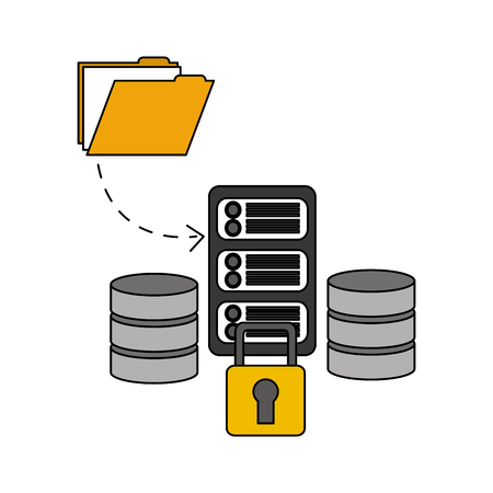 data center disks with server and set icons vector illustration design Illustration