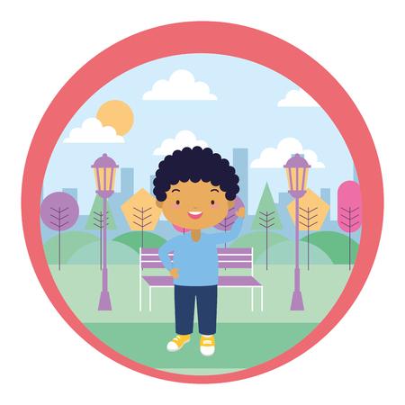 cute little boy park bench trees vector illustration design