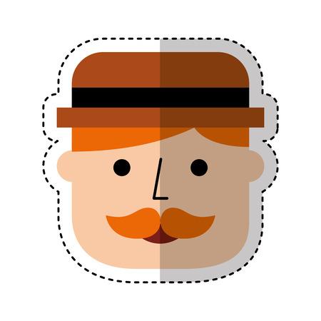 elegant gentleman with hat vector illustration design Illustration