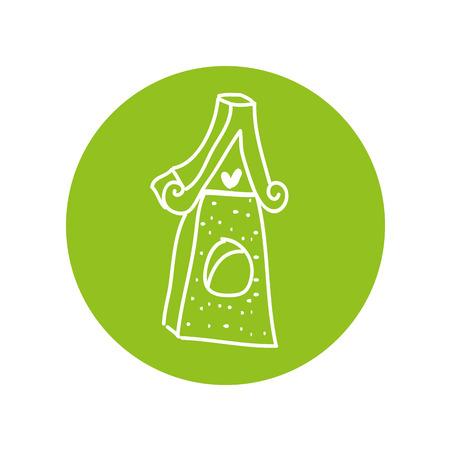 Oiseau en bois maison design illustration vectorielle icône isolé