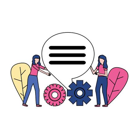 Les femmes d'affaires engrenages parlent d'illustration vectorielle de bulle Vecteurs