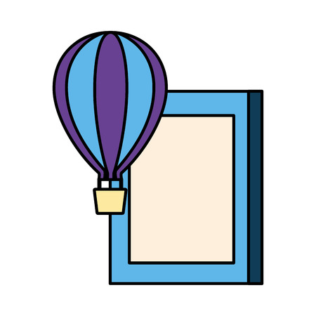world book day hot air balloon white background vector illustration