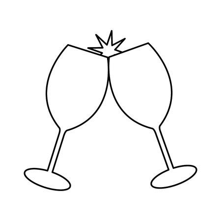 tazza bevanda festa icona isolata illustrazione vettoriale design Vettoriali