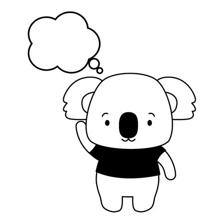 cute koala cartoon speech bubble vector illustration design Illustration