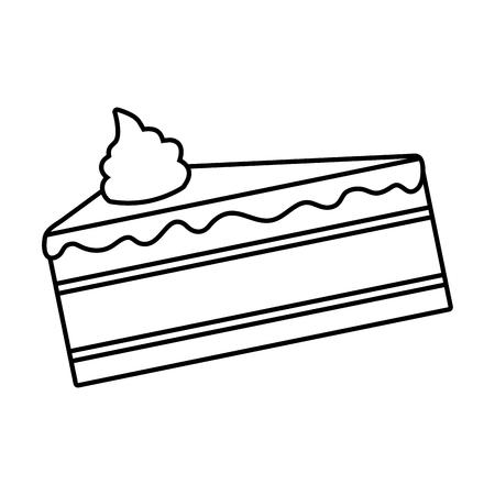 sweet cake slice on white background vector illustration Illustration