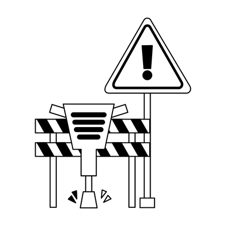 barricade jackhammer warning tool construction vector illustration