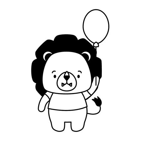 cute lion balloon cartoon vector illustration design