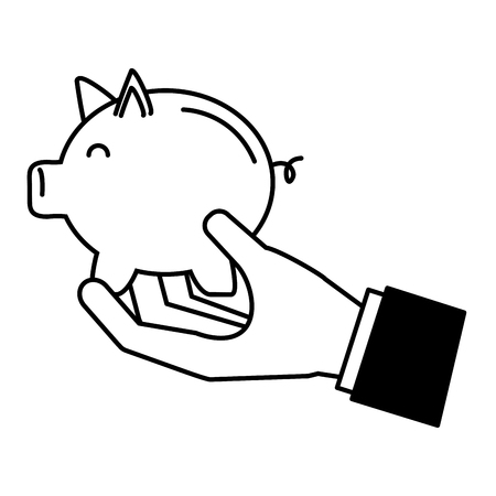 hand with piggy bank saving vector illustration 版權商用圖片 - 122637642
