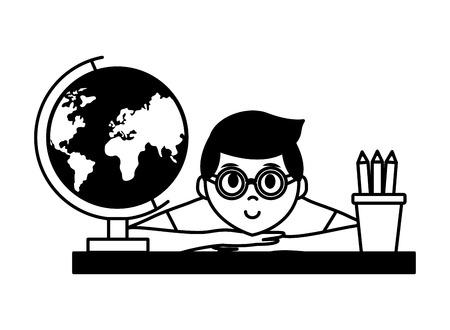 student school globe pencils teachers day vector illustration