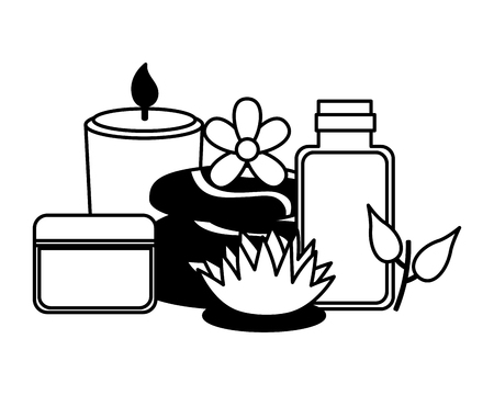 cosmetics products stones candle flower spa treatment vector illustration 일러스트