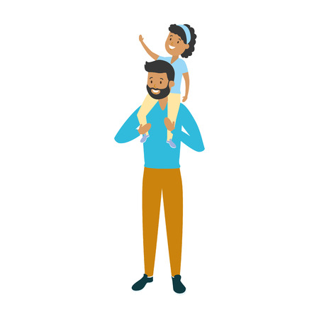 father with little daughter on his shoulders vector illustration