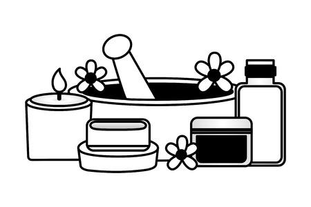 Ilustración de vector de terapia de tratamiento de spa de gel de jabón de vela de mortero