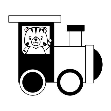 cute tiger train wagon toy design vector illustration Illustration