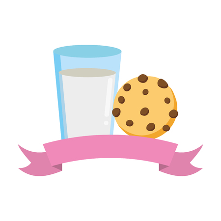 milk and cookie fast food white background vector illustration Illustration