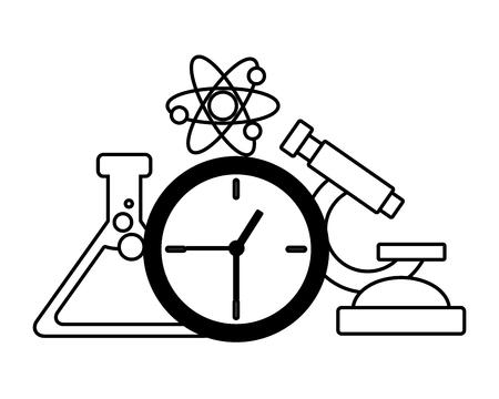 La ciencia de la escuela matraz microscopio atómico, diseño de ilustraciones vectoriales Ilustración de vector